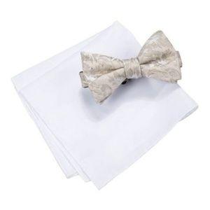 COUNTESS MARA Pocket Square Bow Tie Set Silk Beige